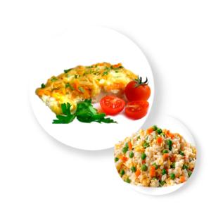 Рыба треска с рисом овощами  и соусом
