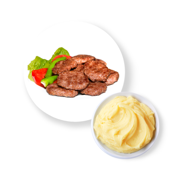 Котлета из индейки с картофельным пюре и соусом