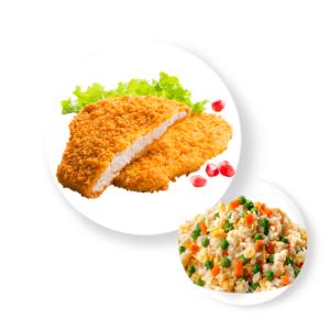 Шницель куриный с рисом овощами и соусом
