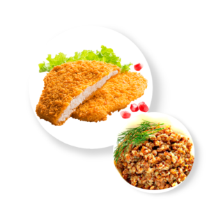 Шницель куриный с гречкой и соусом