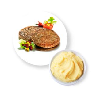Котлета Сочная с картофельным пюре и соусом