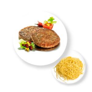 Котлета Сочная с макаронами и соусом